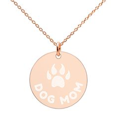 Do Mom Rose Gold Disc Necklace with Engraved Pet Paw – vauus