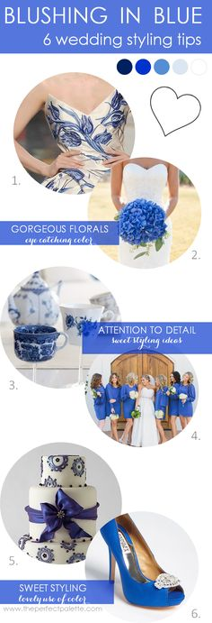 Shades of Blue and White http://www.theperfectpalette.com/2013/10/6-wedding-styling-tips-blushing-in-blue.html