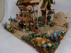 1 12 Scale Handcrafted Miniature Potting Shed Scene Tons of Handmade Flowers   eBay