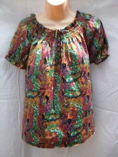 womens blouse Medium The Limited multi color campus school work casual top shirt #limited #Blouse #Casual