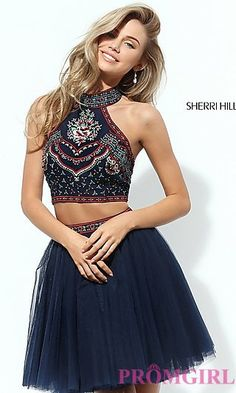 Short Two Piece Halter Homecoming Dress at PromGirl.com