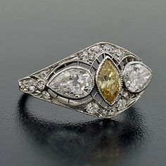 Edwardian Platinum & Natural Yellow Diamond Ring - Fancy yellow-color diamond in center circa 1910
