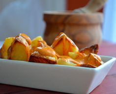 "Four more days left in Barcelona. Sigh… Here's one last ""tapas"" recipe we want to share with you before we leave: ""Patatas Bravas"". Again, super simple, flavorful and satisfying. Another great thing about it? You can take the basic recipe and modify it however you like it. Use vegan ""mayo"" instead of regular; add more …"