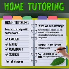 Tailored private tutoring sessions to suit each student's needs. Learning takes place in the comfort of your Home! No need to worry about taking your child to a learning centre, our tutors come to you. Bringing Education to your Doorstep! 068 035 1845 Home Tutors, Hit Home, Malcolm X, Online Lessons, Learning Centers, Geography, Curriculum, Student, Science