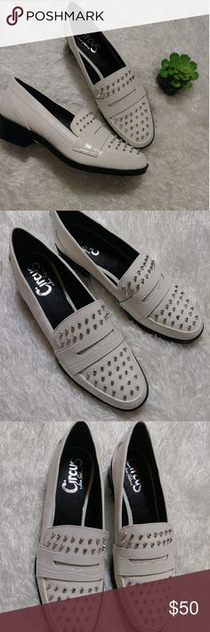 Sam Edelman Circus White Stud loafers NWOT. Never worn. High shine white vegan leather with sliver studs. Lifted with a block heel. Super on trend. Great alternative to boring flats or boots this winter. Circus by Sam Edelman Shoes Flats & Loafers