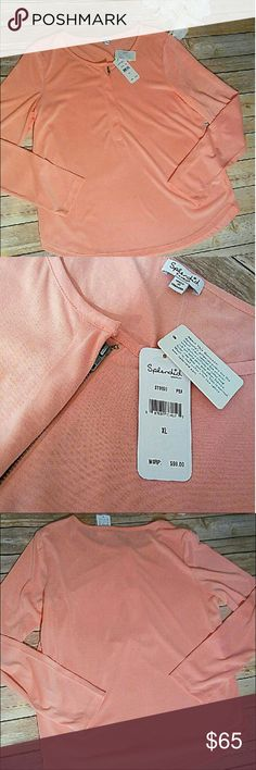 NWT Anthropologie Pink Long Sleeve Top NWT Splendid (sold at Anthropologie) pink long sleeve top. Beautiful material, has a hidden zipper, size extra large. Bundle up! All offers are welcome here in my closet! Anthropologie Tops Tees - Long Sleeve