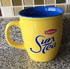 LIPTON Sun Tea Yellow Cup Mug Blue Inside Advertising Collectible #Lipton