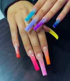 Taste the rainbow 🌈 Long Square Acrylic Nails, Pink Acrylic Nails, Drip Nails, Aycrlic Nails, Coffin Nails, Long Nail Designs, Cute Acrylic Nail Designs, Nails Design With Rhinestones, Exotic Nails