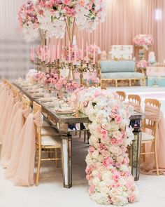 Pink tablescape with gorgeous floral runner centerpiece
