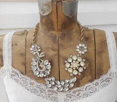 LOVE    Rhinestone Brooch Necklace Repurposed Vintage Assemblage Statement Silver Gold. $125.00, via Etsy.