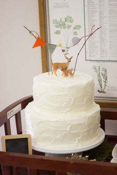 Lovely cake at a Woodland Baby Shower!  See more party planning ideas at CatchMyParty.com!