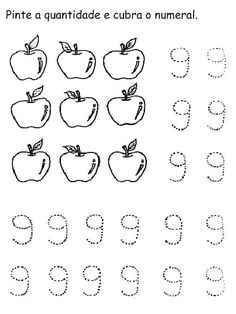 Numerais - Números de 0 a 10 para cobrir e colorir Número 0 - cobrir e colorir Número 1 - cobrir e colorir Número 2 - cobrir. Preschool Learning, Back To School, Maria Clara, Dns, Homeschooling, Worksheets, Fruit, Disney, Crafts