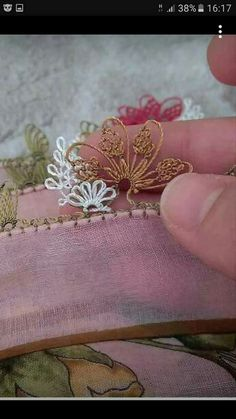 This Pin was discovered by Özc Embroidery Neck Designs, Beaded Embroidery, Cross Stitch Embroidery, Hand Embroidery, Filet Crochet, Drawn Thread, Thread Work, Crochet Unique, Champagne Party