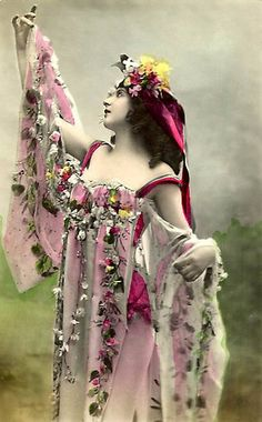 """(Vintage) """"Beautiful Bell and Her Flowers"""" retouched by VintageMoon,photo by unknown"""