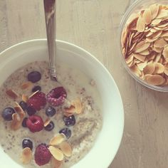 Oatmeal w/ Almond milk, cinnamon, berries and toasted almonds