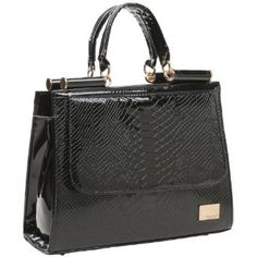 EILIS Chic Black High Gloss Faux Crocodile Pattern Top Double Handle Doctor Style Office Tote Satchel Briefcase Handbag Purse - Price:$35.50