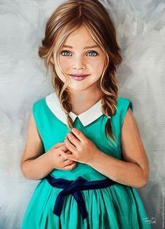 Купить Детский портрет по фото на заказ - бирюзовый, детский портрет, оформление детской