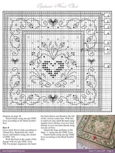 Opalescent heart cross-stitch chart.