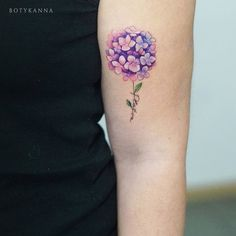 Purple Hydrangea and Lettering Tattoo by Anna Botyk