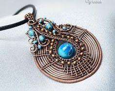 Key pendant copper wire wrap key jewelry moss agate gemstone