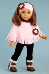 Pink Poncho - Pink fleece poncho, matching headband, black leggings and brown sherpa boots - Clothing for 18 inch Dolls