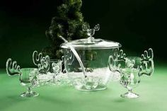 This is a Christmas Moose Punch Bowl Set And It's Just Right For Serving Eggnog.