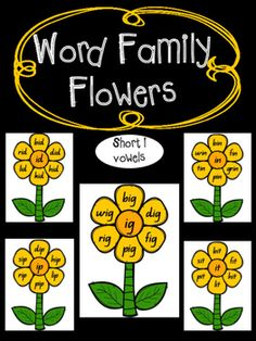 Word Family Flower Posters and Printables.Short i Rhyming Word Family Endings - ib, id, ig, in, ip, it.The following rhyming word family endings are included;ib  (bib, crib, fib, nib, rib).id  (bid, did, hid, kid, lid, rid).ig  (big, dig, fig, pig, rig, wig).in  (bin, fin, grin, pin, tin, win).ip  (dip, hip, lip, pip, rip, sip).it (bit, fit, hit, lit, pit, sit).This Word Family teaching pack contains the following;A set of word family colour flower posters (6 pages).A set of word family…