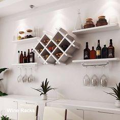 wall Shelves Bar - Details about Wall Mount Wine Rack Bottle Glass Holder 4 Shelves Bar Accessories Shelf 3 color. Wine Glass Shelf, Glass Shelves Kitchen, Wine Shelves, Floating Shelves, Hanging Wine Glass Rack, Kitchen Rack, Diy Home Bar, Bars For Home, Diy Bar