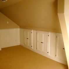 attic conversion / storage on slanted walls