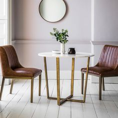 Gatsby Round Marble Dining Table, White and Gold