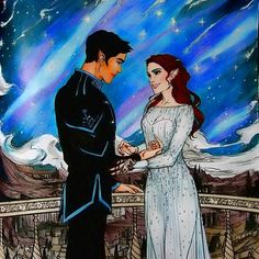 Feyre and Rhys at Starfall.From A Court of Thorns and Roses done with prismacolors.#acotarcoloringbook #acourtofthornsandroses #acotar#acourtofwingsandruin#coloringbook #adultcoloringbook #starfall#rhys#feyre
