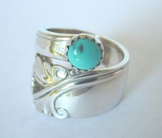 Silver Spoon Ring Ornate Antique - Sidewinder Spring Glory, with Genuine Turquoise stone.From size to size Silver Spoon Ring Ornate Antique - Sidewinder Spring Glory, with Genuine Turquoise stone. Silver Spoon Jewelry, Fork Jewelry, Silverware Jewelry, Silver Spoons, Cute Jewelry, Metal Jewelry, Sterling Silver Jewelry, Jewelry Accessories, Silver Rings