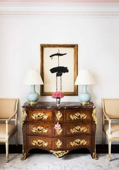 A Glamorous Pied-à-Terre by Cece Barfield Thompson - The Glam Pad Hand Painted Wallpaper, New York City Apartment, Modern Office Design, Interior Decorating, Interior Design, Interior Ideas, Interior Styling, Dresser As Nightstand, Home Accents