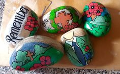 Stone Painting, Rock Painting, Remembrance Day, Painted Rocks, Easter Eggs, Poppies, Holiday, Crafts, Decorating