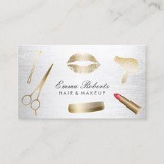Makeup Artist Hair Stylist Modern Gold & Silver Business Card Beauty Business Cards, Salon Business Cards, Gold Business Card, Hairstylist Business Cards, Makeup Artist Business Cards, Modern Business Cards, Business Card Design, Hairstylist Quotes, Business Ideas