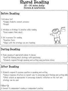 "This shared reading chart is great for teachers  and students. Teachers can use this guide to assist them when planning their students weekly lessons and activities. Students can use the chart as a reminder of what ""good readers"" do before, during, and after reading."