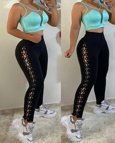 Cami Set, Type Of Pants, Loose Fitting Tops, Eyelet Lace, Casual Sweaters, Skinny Pants, Pattern Fashion, Fashion Outfits, Fashion Pants