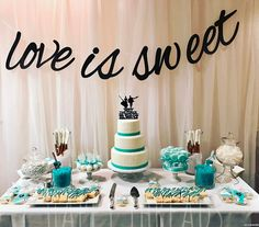 Candy table for a beautiful wedding!!! I'm in love!!! Book your spot soon!!! #candytable #chocolatepretzels #bakersfield #shopsmall #teal #white #wedding #cakepops #loveissweet #tulle