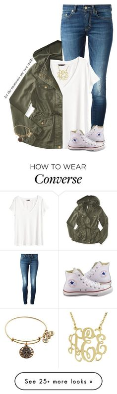 """""""Let the monsters see you smile"""" by sydneymellark on Polyvore featuring Dondup, H&M, Aéropostale, Converse, Alex and Ani and simplyspring"""