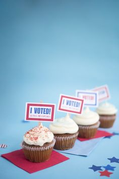 Election Day Cupcake Toppers DIY | Oh Happy Day!