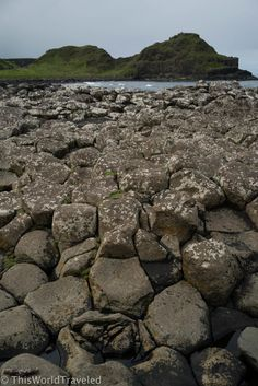 The stacked hexagonal basalt columns that make up Giant's Causeway in Northern Ireland