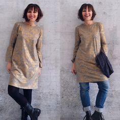 Kleid Nr.1 ist ein klassisches Kleid mit klarer Linienführung in leichter A-Linie und praktischen Nahttaschen. Die formgebende Naht im Rücken macht eine gute Figur.  Genäht wird es aus elastischen Stoffen mit kurzen oder 3/4-langen Ärmeln. Diy Clothes, High Neck Dress, Tunic Tops, Dresses, Women, Fashion, Sew Dress, Long Sleeve, Tutorials