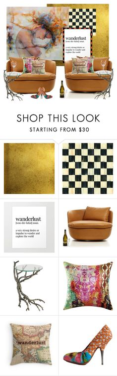 """""""Wanderlust and The Swivel Armchair..."""" by kimberlyd-2 ❤ liked on Polyvore featuring interior, interiors, interior design, home, home decor, interior decorating, Burke Decor, Moooi, Poetic Wanderlust and Dries Van Noten"""