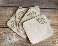Green Leaves Coasters, a set of Hand embroidered, Natural Linen and Cotton, Nature Inspired Home Baby Embroidery, Embroidery Stitches, Embroidery Patterns, Beaded Embroidery, Fabric Coasters, Quilted Coasters, Embroidered Gifts, Natural Linen, Felt Crafts