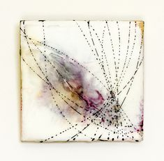 The One Hundred - Strands 6, Encaustic layered over vintage tie-dyed fabric with lines drawn in india ink.