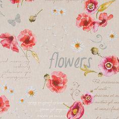 Dekorační látka Vlčí máky Flowers režná