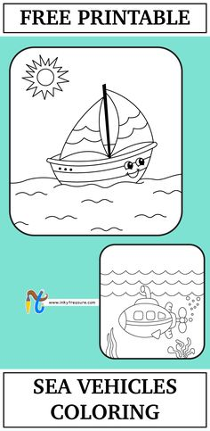 We have 2 Sea vehicles coloring Worksheet and these are very simple coloring page for preschool and kindergarten children. Let kids use their creative skills further to make the this page colorful and vibrant. Happy Coloring!
