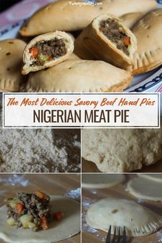 This Nigerian meatpie recipe features one of my favorite snacks and in my honest opinion the best beef hand pies in the world! Somewhat similar to empanadas, they are a common West African appetizer and can be made with different types of meat. Nigerian Meat Pie, Nigerian Food Recipes, African Food Recipes, Yummy Snacks, Yummy Food, West African Food, Hand Pies, International Recipes, Relleno