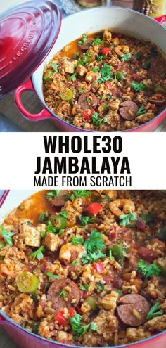 This easy recipe for One Pot Healthy Jambalaya is the perfect weeknight dinner. By adding simple ingredients (some frozen) to one pot and tossing with a creole seasoning you'll have a family favorite in no time with minimal clean up. Instant pot instructions are included. Easy Meals For One, Easy Whole 30 Recipes, Clean Recipes, Paleo Recipes, Healthy Dinner Recipes, Real Food Recipes, Healthy Dinners, Healthy Eats, Seafood Jambalaya