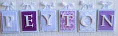 Nursery lettersPurple Nursery Letters by LoveyLettersbyLeah Hanging Letters On Wall, Letter Wall, Wood Letters, Room Paint Colors, Paint Colors For Living Room, Painting On Pallet Wood, Rustic Wood Crafts, Wood Initials, Nursery Letters